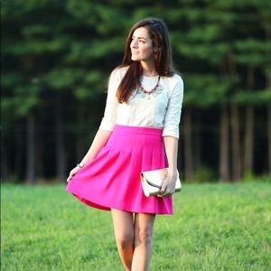 J. Crew hot pink pleated skirt